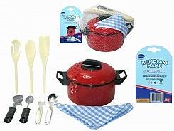 Купить Помогаю Маме. Набор посуды для кухни, 10 предметов [PT-00113(3332)], пластик, текстиль, металл., Для девочек, Детские кухни и бытовая техника