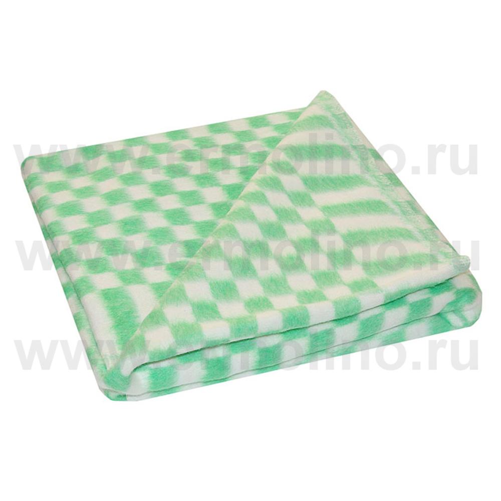 Купить ЕРМОЛИНО Одеяло детское байковое х/б 140x100 КЛЕТКА Зеленый [57-3ЕТ], Россия, Покрывала, подушки, одеяла для малышей