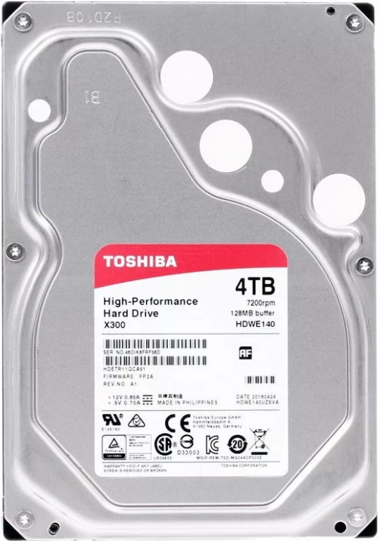 Жесткий диск 4 Тб Toshiba High Perfomance X300 (HDWE140UZSVA) 3.5