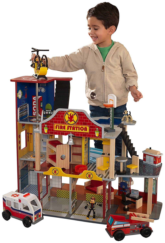 Купить KIDKRAFT Набор Пожарно-Спасательная станция Kidkraft Делюкс [63214_KE], 76 x 45 x 64 см, Дерево, Игровые наборы и фигурки для детей