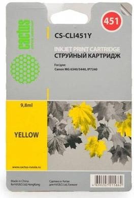 Купить Струйный картридж Cactus CS-CLI451Y (Yellow), CS-CLI451Y Yellow, Yellow (Желтый), Китай