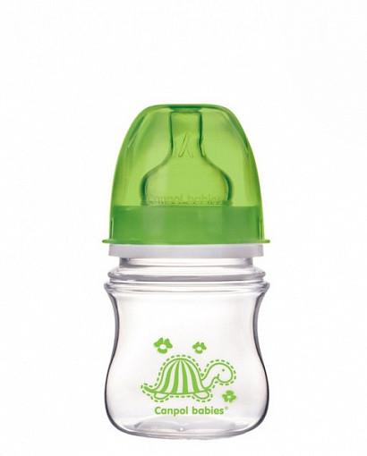 Купить CANPOL Бутылочка PP EasyStart Colourful animals с широким горлышком антиколиковая, от 3 месяцев, 120 мл (зеленая) [250930090], зеленый, полипропилен, Бутылочки и ниблеры для малышей