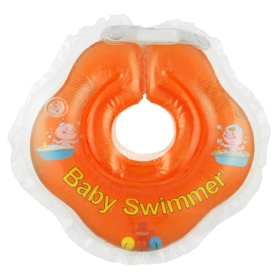 Купить BABY SWIMMER Круг для купания ( 3-12кг) Оранжевый Полуцвет+внутри погремушка [BS02O-B], Китай, Погремушки и прорезыватели