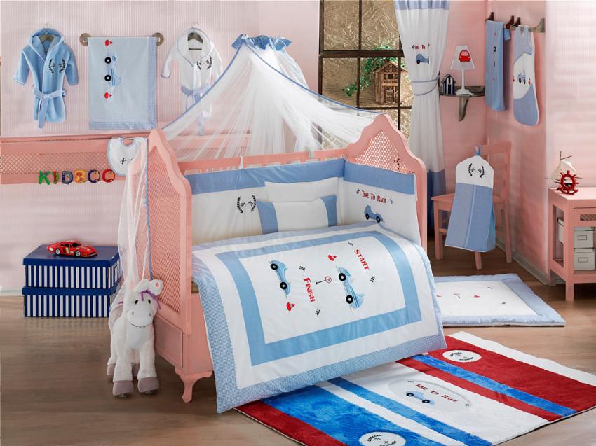 Купить KIDBOO Комплект постельного белья Lets Race (3 предмета) [00-0012151], голубой, белый, Хлопок, Для мальчиков и девочек, Постельное белье для малышей