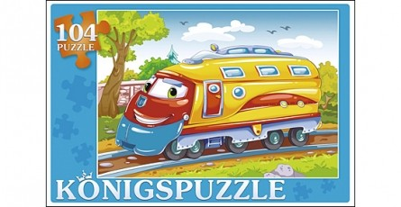 Купить KÖNIGSPUZZLE Пазлы Konigspuzzle. Веселый паровозик , 104 элемента [ПК104-5804/РК], Königspuzzle, 215 x 145 x 40 мм, Картон