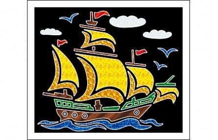 Купить РЫЖИЙ КОТ Аппликация фольгой Кораблик , 19х22 см [А-8680], Рыжий кот, Картон, Товары для создания аппликаций