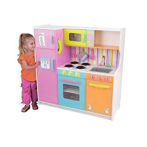 Купить KIDKRAFT Большая детская игровая кухня Делюкс (Deluxe Big & Bright Kitchen) [53100_KE], 107 x 44 x 109 см, пластик, Дерево, текстиль., МДФ, Детские кухни и бытовая техника