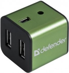 Разветвитель USB 2.0 Defender Quadro Iron Green 83506