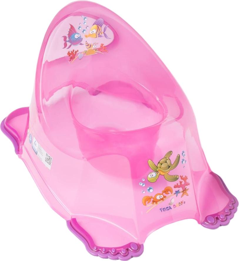 Купить ТЕГА Детский горшок антискользящий AQUA (АКВА) прозрачный розовый [AQ-007-117], Tega baby, Горшки и детские сиденья на унитаз