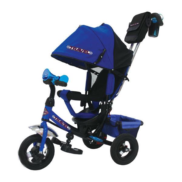 Купить TRAVEL Детский трехколесный велосипед Travel с ручкой (цвет: синий) [TTA2B], металл, пластик, текстиль, Китай, Велосипеды для взрослых и детей