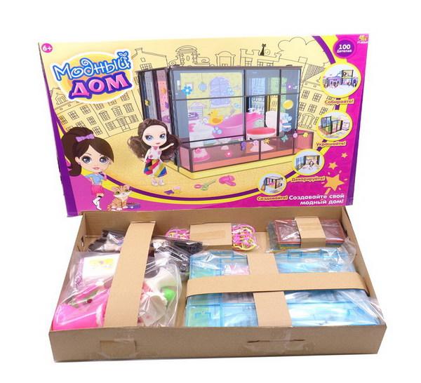 Купить ABTOYS Набор Модный дом с куклой и мебелью, 100 деталей [PT-00849], пластик, Для девочек, Китай, Кукольные домики