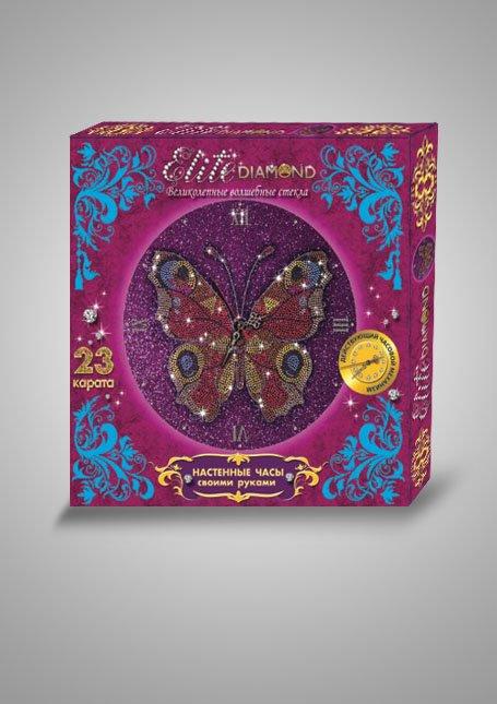 Купить ЛАПЛАНДИЯ Набор для создания настенных часов Elite Diamond Бабочка , 32х32х4 см [45764L], Пластик, металл, Россия, Детские товары