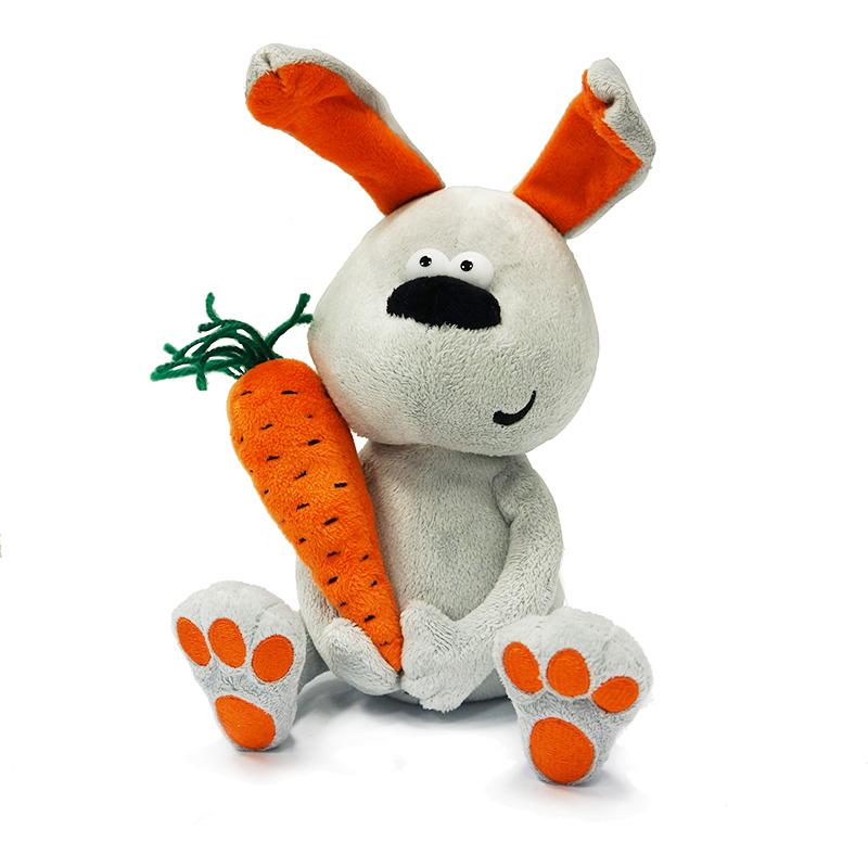 Купить Мягкая игрушка ДУRАШКИ MT-TS12201305-22 Заяц & Morkovka, Искусственный мех, полиэтиленовые гранулы, синтетическое волокно, элементы из пластмассы, Для мальчиков и девочек, Китай, Мягкие игрушки