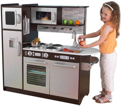 Купить KIDKRAFT Деревянная кухня для мальчиков и девочек Эспрессо (Uptown Espresso Kitchen) [53260_KE], 109 x 45 x 104 см, Дерево, пластик., МДФ, Детские кухни и бытовая техника