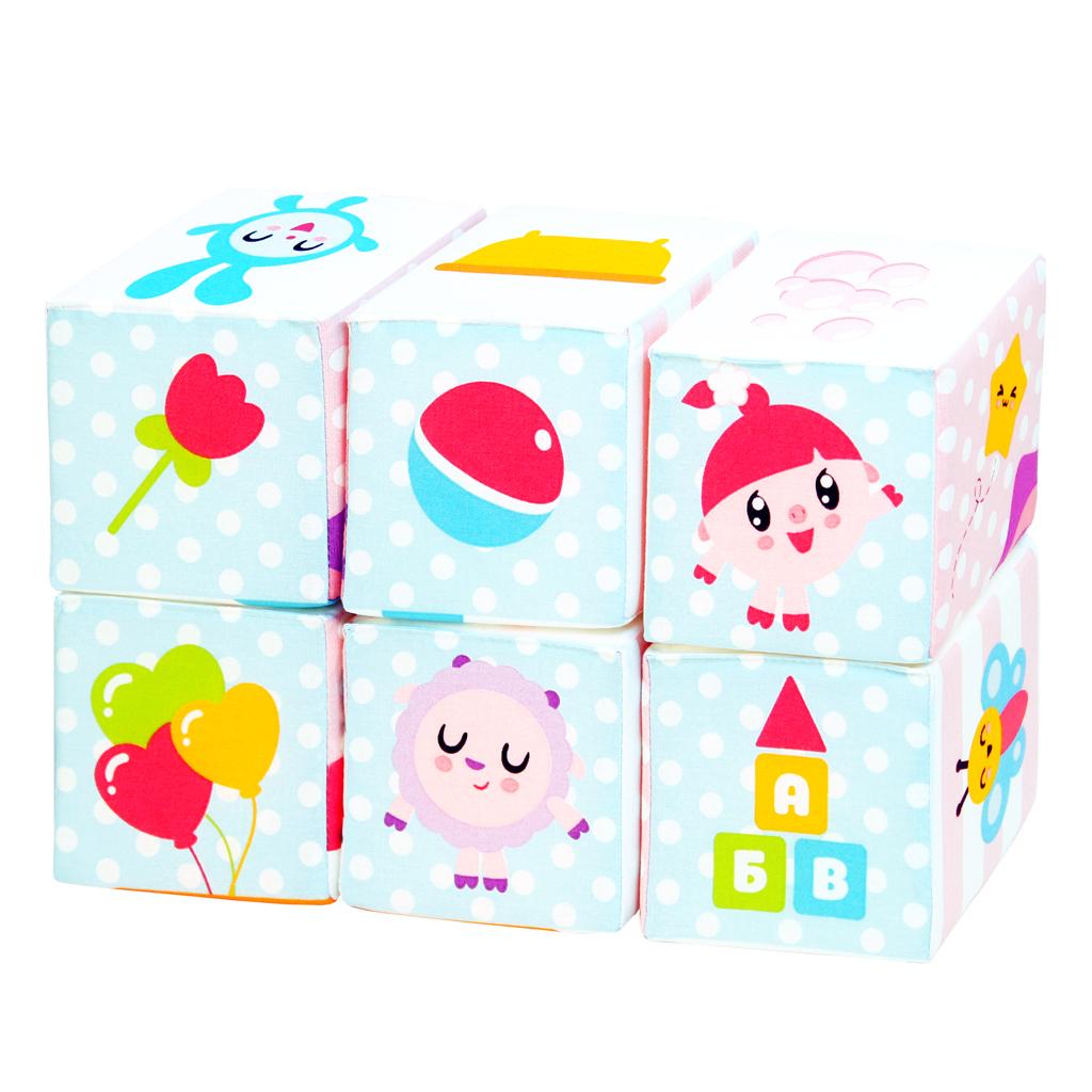 Купить Кубики МЯКИШИ 398 Малышарики Мультики, Мякиши, 100% х/б ткань, трикотажные полотна, Для мальчиков и девочек, Россия, Кубики для малышей