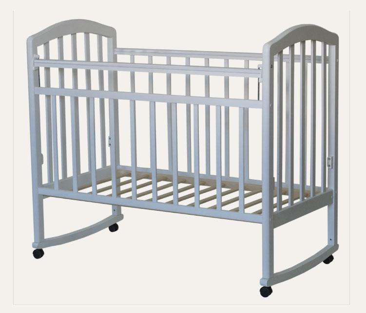 Купить 12355015, АНТЕЛ Кровать детская Алита-2 колесо качалка белый [Алита-2 белый], Кроватки детские