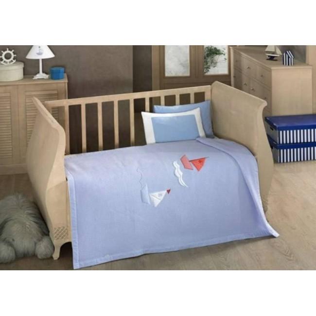 Купить KIDBOO Комплект постельного белья Blue Marine (цвет: стандарт, 4 предмета с вафельным покрывалом) [00-0012639], Голубой, Хлопок, Для мальчиков и девочек, Постельное белье для малышей
