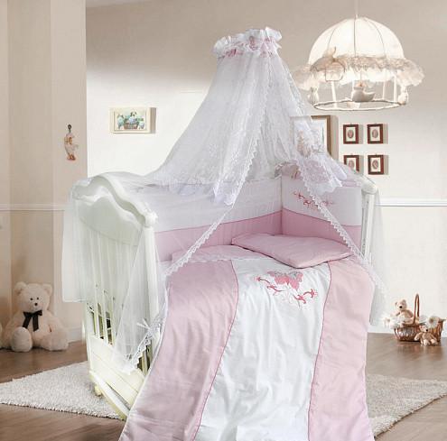 Купить BOMBUS Комплект в кроватку Анабэль (цвет: розовый, 7 предметов) [1126], 100% полиэстер/ 100% хлопок, Для девочек, Постельное белье для малышей