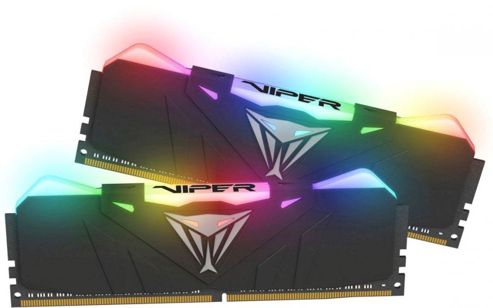 Оперативная память DIMM 16 Гб DDR4 4133 МГц Patriot Viper RGB Black (PVR416G413C9K) PC-33000, 2x 8 Гб KIT фото
