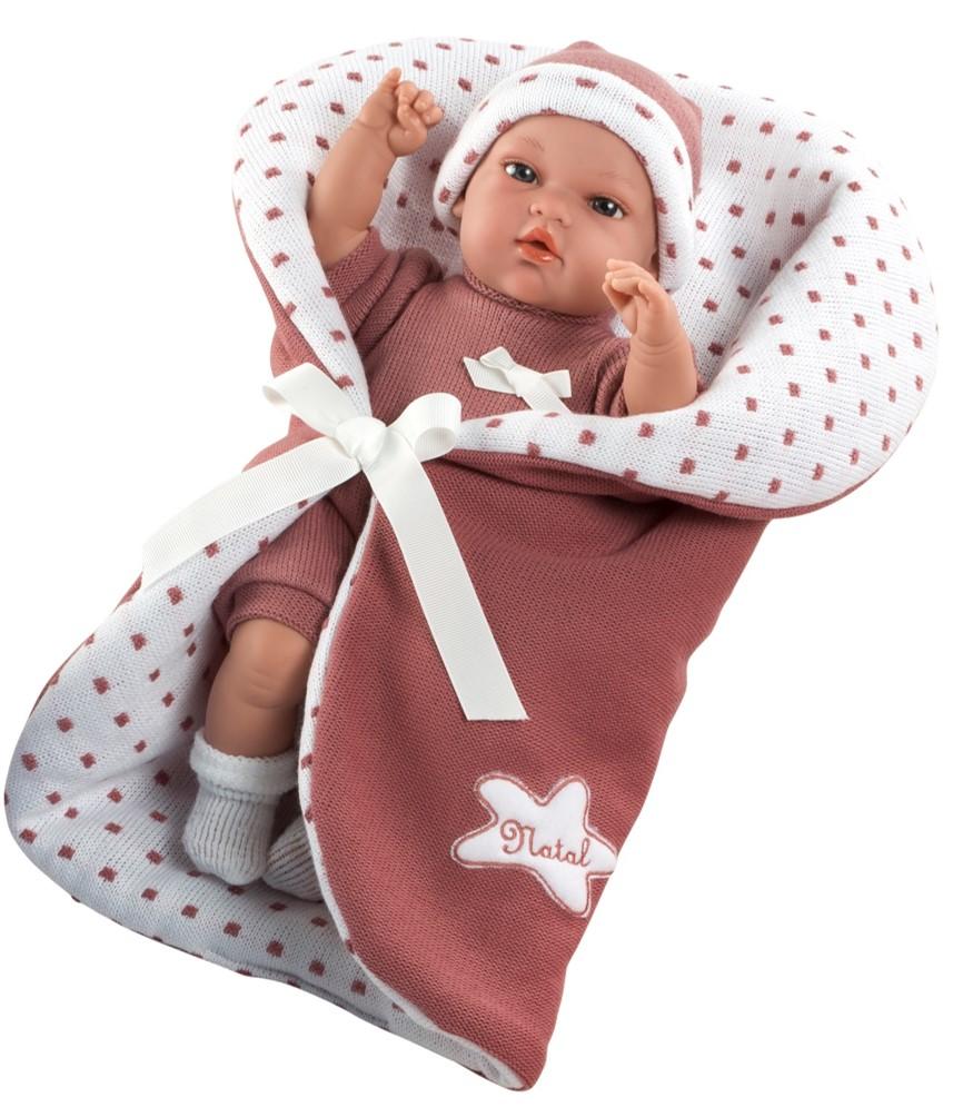 Купить MUNECAS ARIAS Пупс ARIAS Elegance со светло-бордовым одеялком, с соской, 33 см, [Т13727], 405 x 240 x 140 мм, Текстиль, винил, Куклы и пупсы