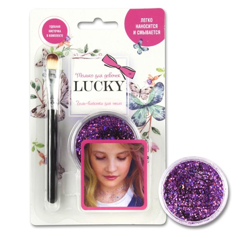 Купить Lucky гель-блестки д тела/лица, в наборе с кисточкой, цвет: пурпур, на блистере [Т11925], Disney, Детская декоративная косметика и духи