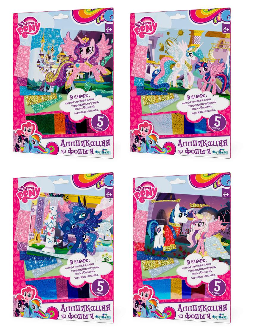 Купить АСТРАЙТ Аппликация из фольги My little pony™ Пони 4 вида 21*30 см [2389], картон, фольга, Китай, Товары для создания аппликаций