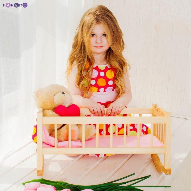 Купить PAREMO Деревянная кроватка-люлька для кукол, розовый текстиль [PFD116-02], Розовый, 25 x 23 x 49 см, Дерево, Текстиль, Мебель для кукол