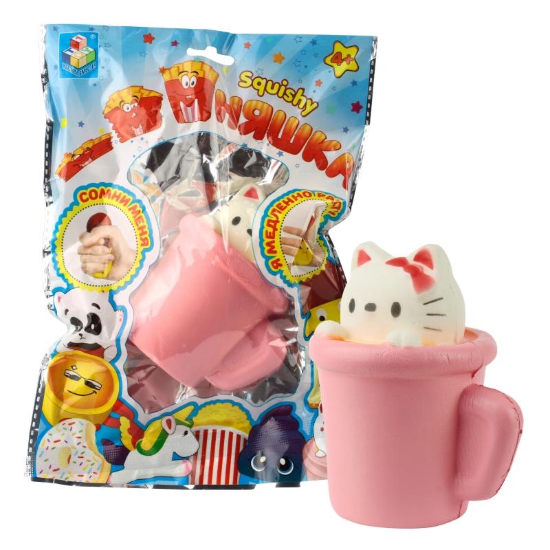 Купить 1 TOY игрушка-антистресс мммняшка squishy (сквиши), мини-кошка в чашке [Т12416], Для мальчиков и девочек, Игрушки-антистресс