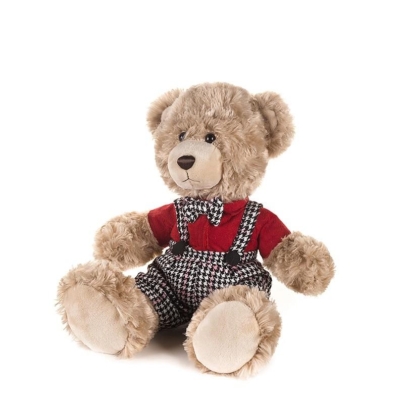 MAXITOYS Мягкая игрушка Мишка Ричард в клетчатых штанишках и красной рубашке, 20 см [MT-GU092018-5-20] фото