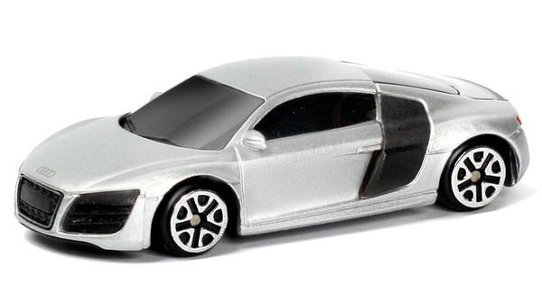 Купить Машина металлическая RMZ City 1:64 Audi R8 V10, без механизмов, (серебристый) [344996S-SIL], 40x40x90 мм, Игрушечные машинки и техника