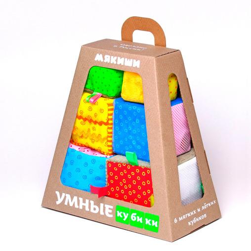 Купить Кубики МЯКИШИ 271 Умные кубики, Мякиши, 100% х/б ткань, трикотаж, искусственный мех, вельвет, плащевка, полиэтилен, сетка, поролон, синтепон, холлофайбер, Для мальчиков и девочек, Россия, Кубики для малышей