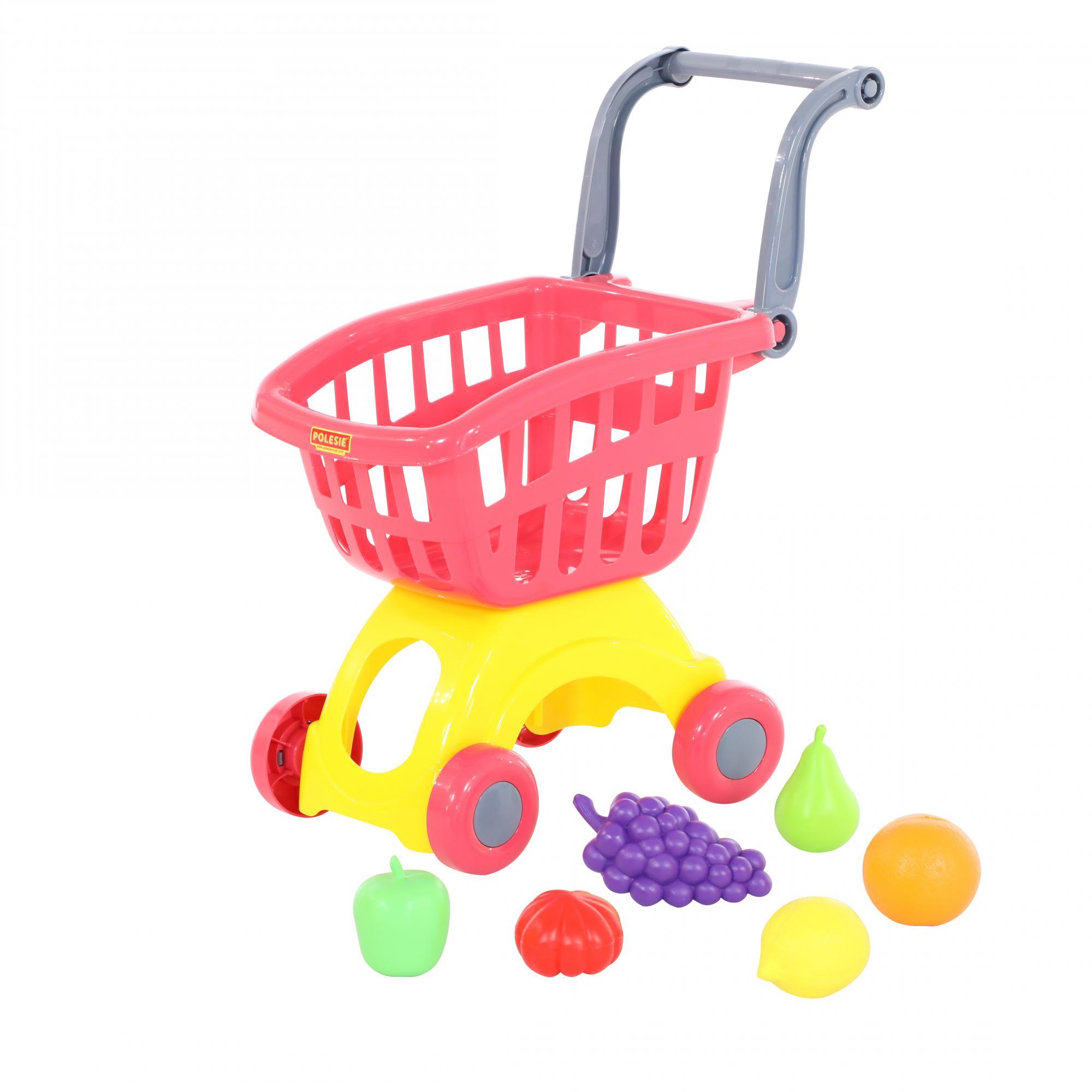Купить Тележка для маркета ПОЛЕСЬЕ Мини + набор продуктов №3 (71378 ), Полесье, Играем в магазин