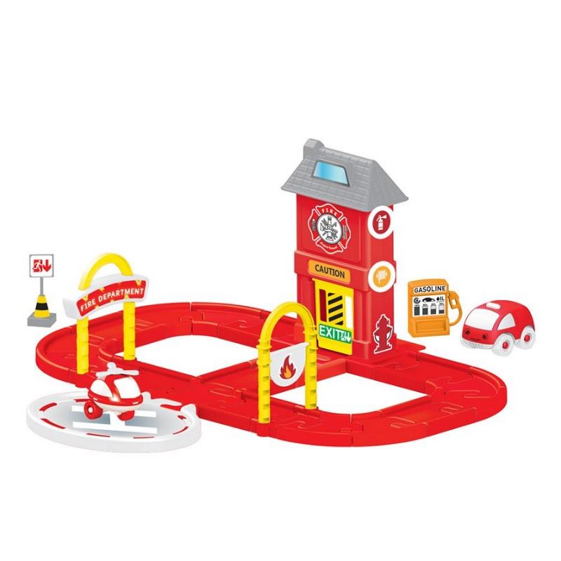 Купить DOLU Игровой набор пожарная станция с круговой дорогой [DL_5150], 64 x 62 x 28 см, пластик, Детские парковки и гаражи