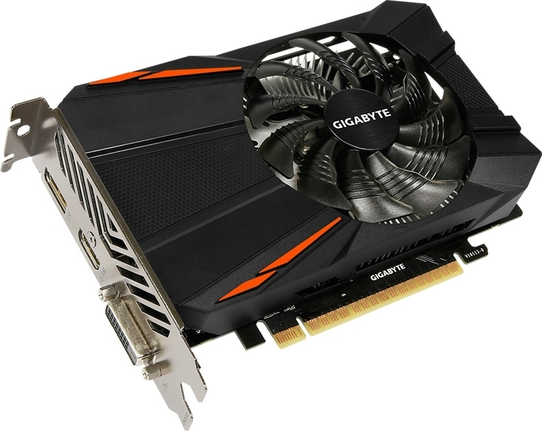 Видеокарта Gigabyte PCI-Ex GeForce GTX 1050 D5 2GB GDDR5 128bit 1354/7008 DVI, HDMI, DisplayPort (GV-N1050D5-2GD)