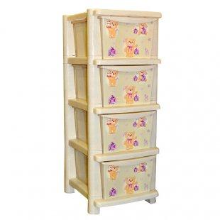 Купить LITTLE ANGEL Детский комод для детской комнаты Littel Ange Bears , слоновая кость [LA4704IR], Бежевый, пластик, Принадлежности для хранения игрушек