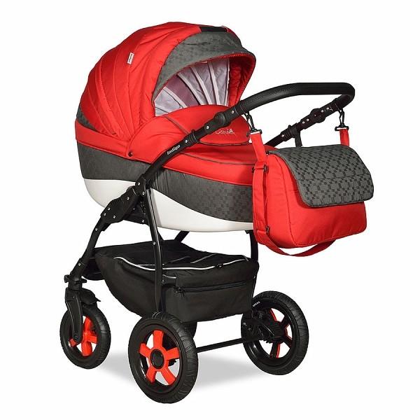 Купить INDIGO Коляска 2-в-1 Indigo Camila 18 (цвет: красный/серый) [УТ0008427], серый, красный, пластик, Металл, Текстиль, Детские коляски