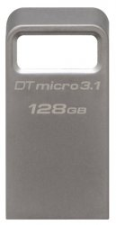 Флешка 128 Гб Kingston DataTraveler Micro 3.1 (DTMC3/128GB) USB 3.1 Type A, серебристая