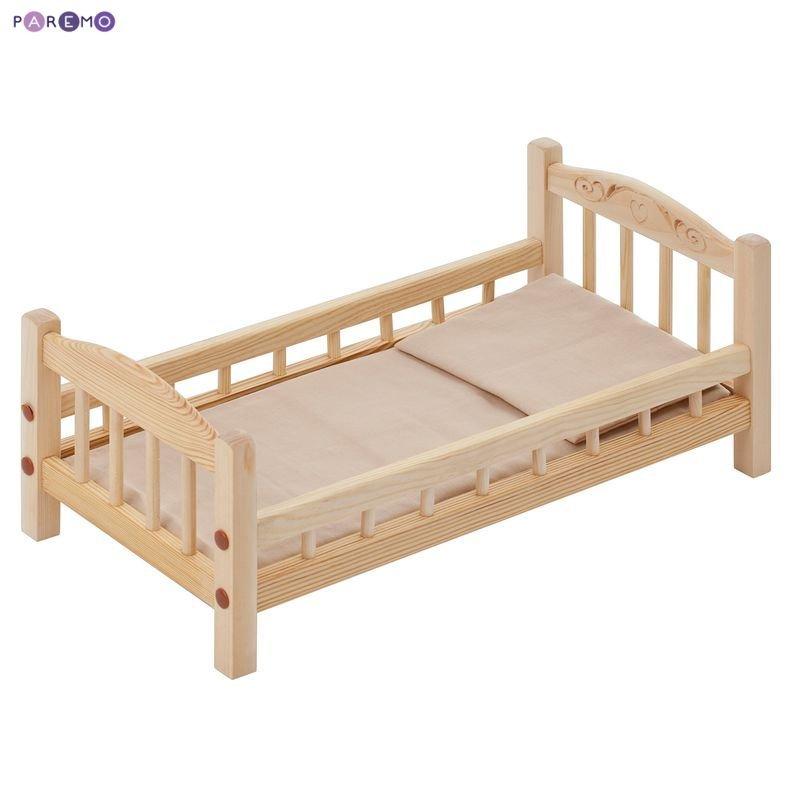 Купить PAREMO Классическая кроватка для кукол, бежевый текстиль [PFD116-01], розовый, 23 x 23 x 48 см, Дерево, Текстиль, Мебель для кукол