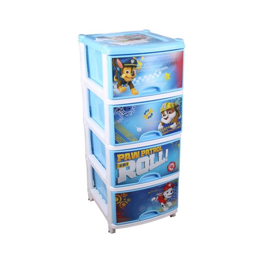 Купить DISNEY (ДИСНЕЙ) Комод Щенячий патруль №1 (четырехсекционный) [6101М], голубой, белый, пластик, Россия, Принадлежности для хранения игрушек