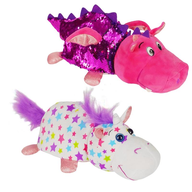 Купить 1TOY Вывернушка БЛЕСК с паетками 30 см Единорог-Дракон [Т15587], Мягкие игрушки