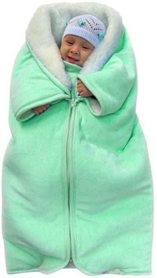 Купить 12346428, ЗОЛОТОЙ ГУСЬ Плед - конверт мех-велюр зелёный, [30024], Покрывала, подушки, одеяла для малышей