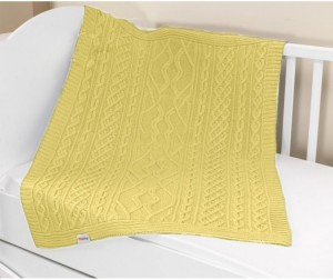 Купить UPS PUPS Плед вязаный (цвет: желтый) [U14-18-10], Желтый, 100% акрил, Для мальчиков и девочек, Покрывала, подушки, одеяла для малышей