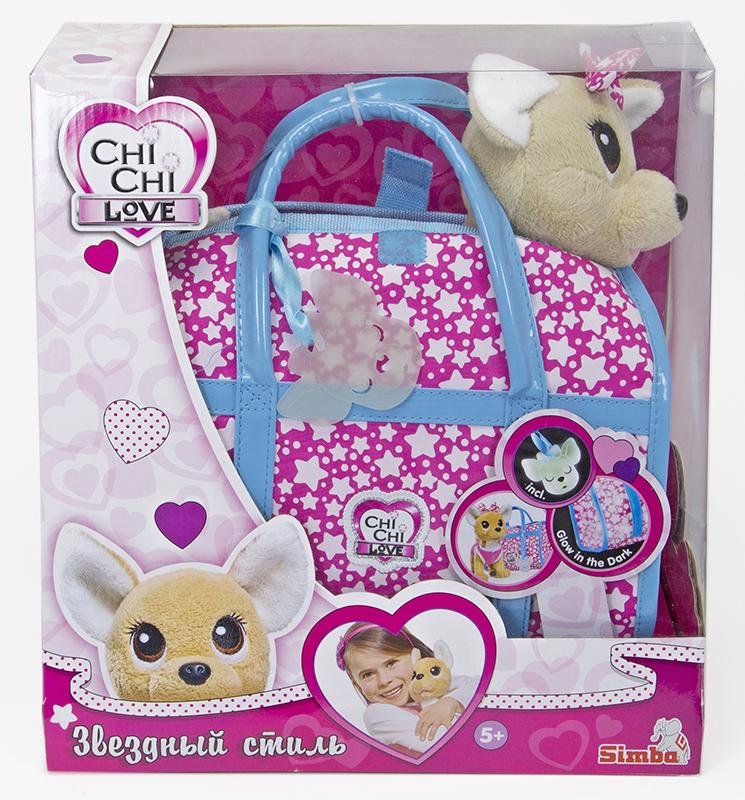 Купить Мягкая игрушка CHI CHI LOVE 5893115 Собачка Звёздный стиль с сумочкой, пластик, Текстиль, Для мальчиков и девочек, Китай, Мягкие игрушки