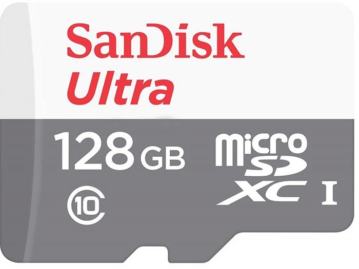 Карта памяти 128Gb MicroSD SanDisk Ultra Class 10 (SDSQUNS-128G-GN6MN)