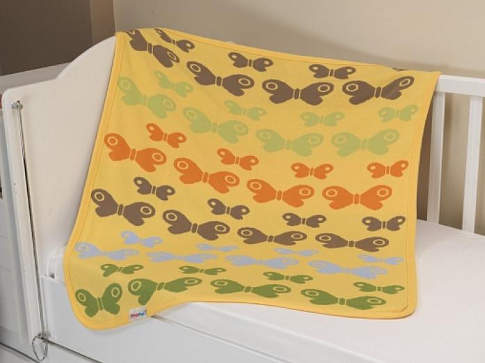 Купить UPS PUPS Плед-покрывало вязаный Бабочки (цвет: желтый) [BP15-01-121], Желтый, 100% акрил, Для девочек, Покрывала, подушки, одеяла для малышей