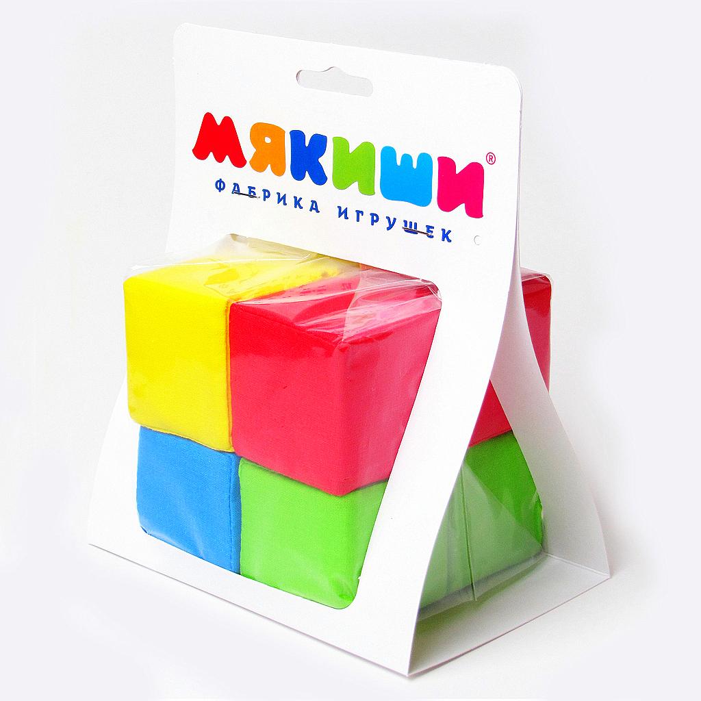 Купить Кубики МЯКИШИ 332 4 цвета, Мякиши, 100% х/б ткань, поролон, Для мальчиков и девочек, Россия, Кубики для малышей