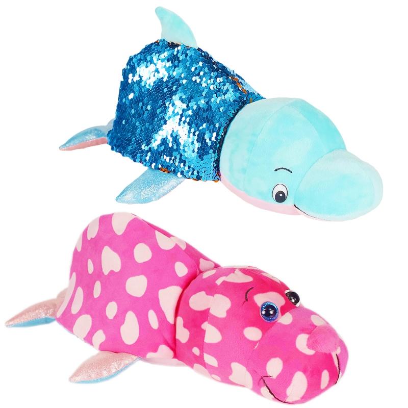 Купить 1TOY Вывернушка БЛЕСК с паетками 30 см Дельфи-Морж [Т15590], Мягкие игрушки