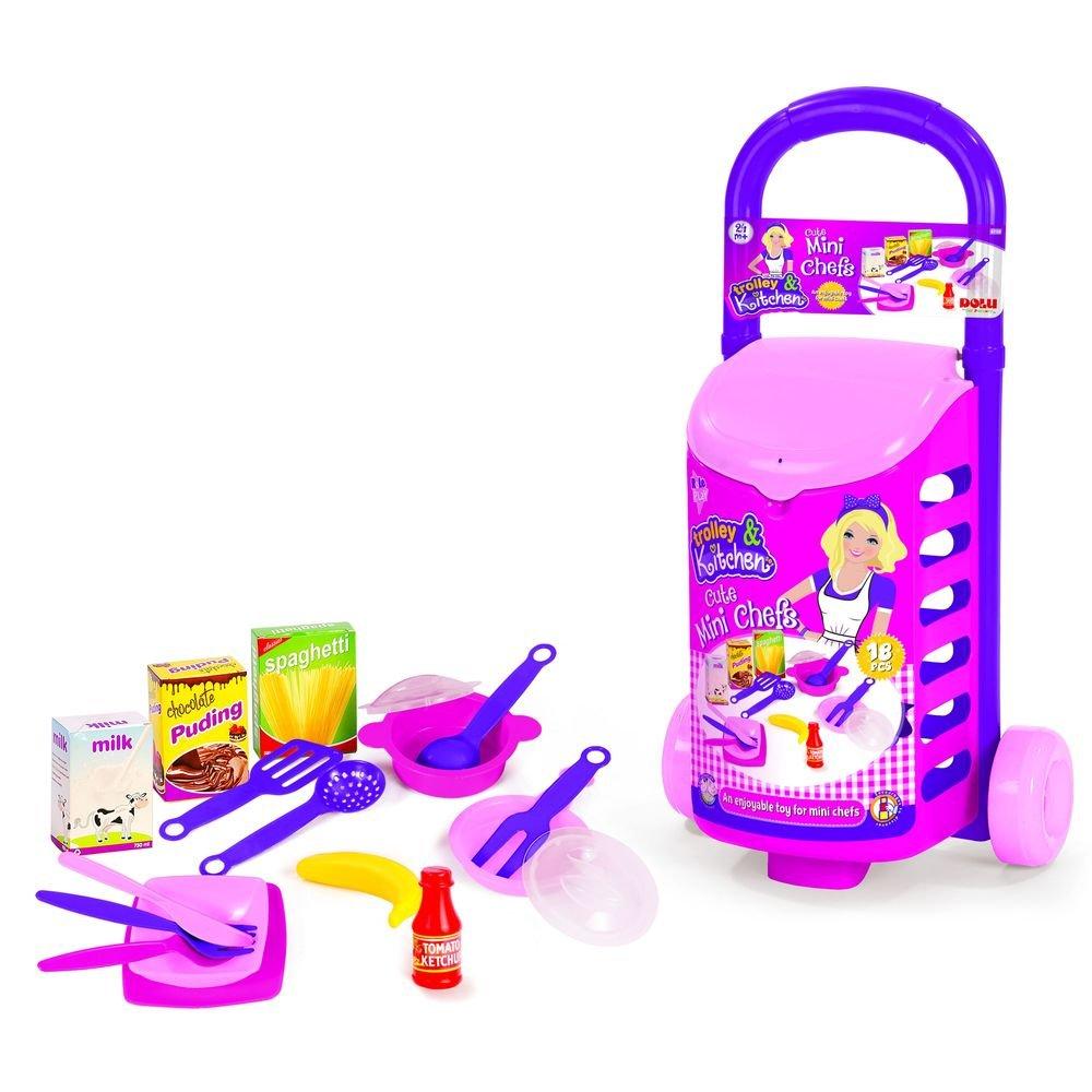 Купить DOLU Кухонный набор с закрытой тележкой (18 элементов) [DL_4108], 56 x 30 x 20 см, пластик, Играем в магазин