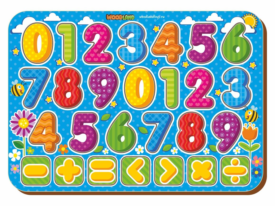 Купить Рамка-вкладыш WOODLAND 091203 Изучаем цифры с знаками, Дерево и фанера, Для мальчиков и девочек, Россия, Обучающие материалы и авторские методики для детей