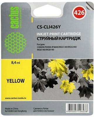 Купить Струйный картридж Cactus CS-CLI426Y (Yellow), CS-CLI426Y Yellow, Yellow (Желтый), Китай